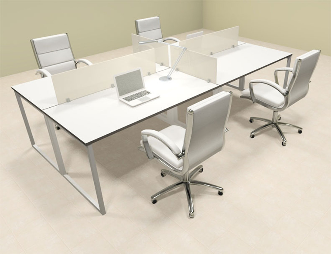 Four Person Modern Acrylic Divider Office Workstation, #AL-OPN-FP7