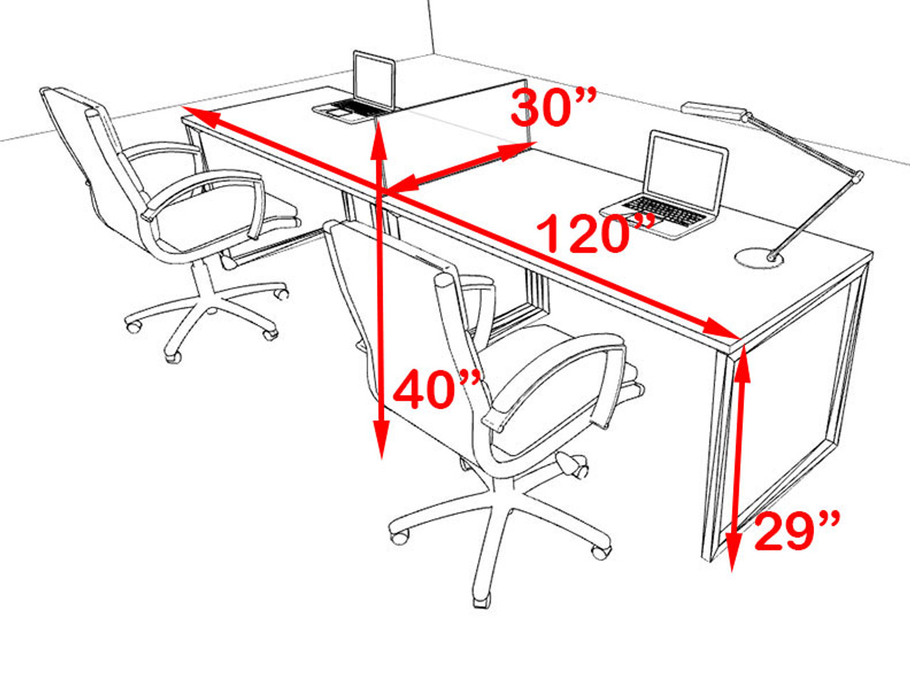 Two Person Modern Acrylic Divider Office Workstation, #AL-OPN-SP1