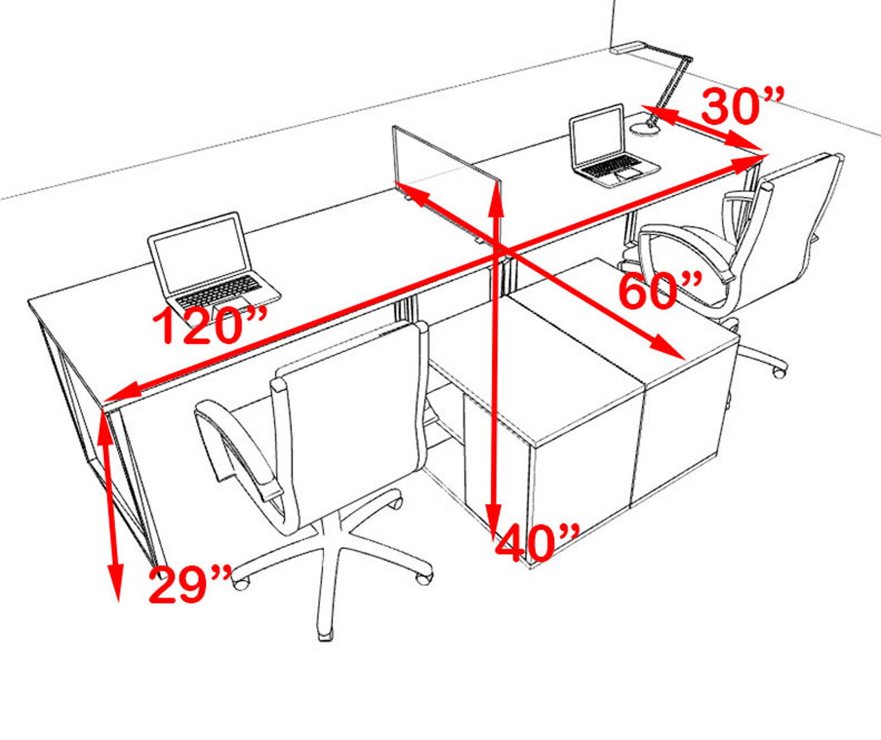 Two Person Modern Acrylic Divider Office Workstation, #AL-OPN-SP10