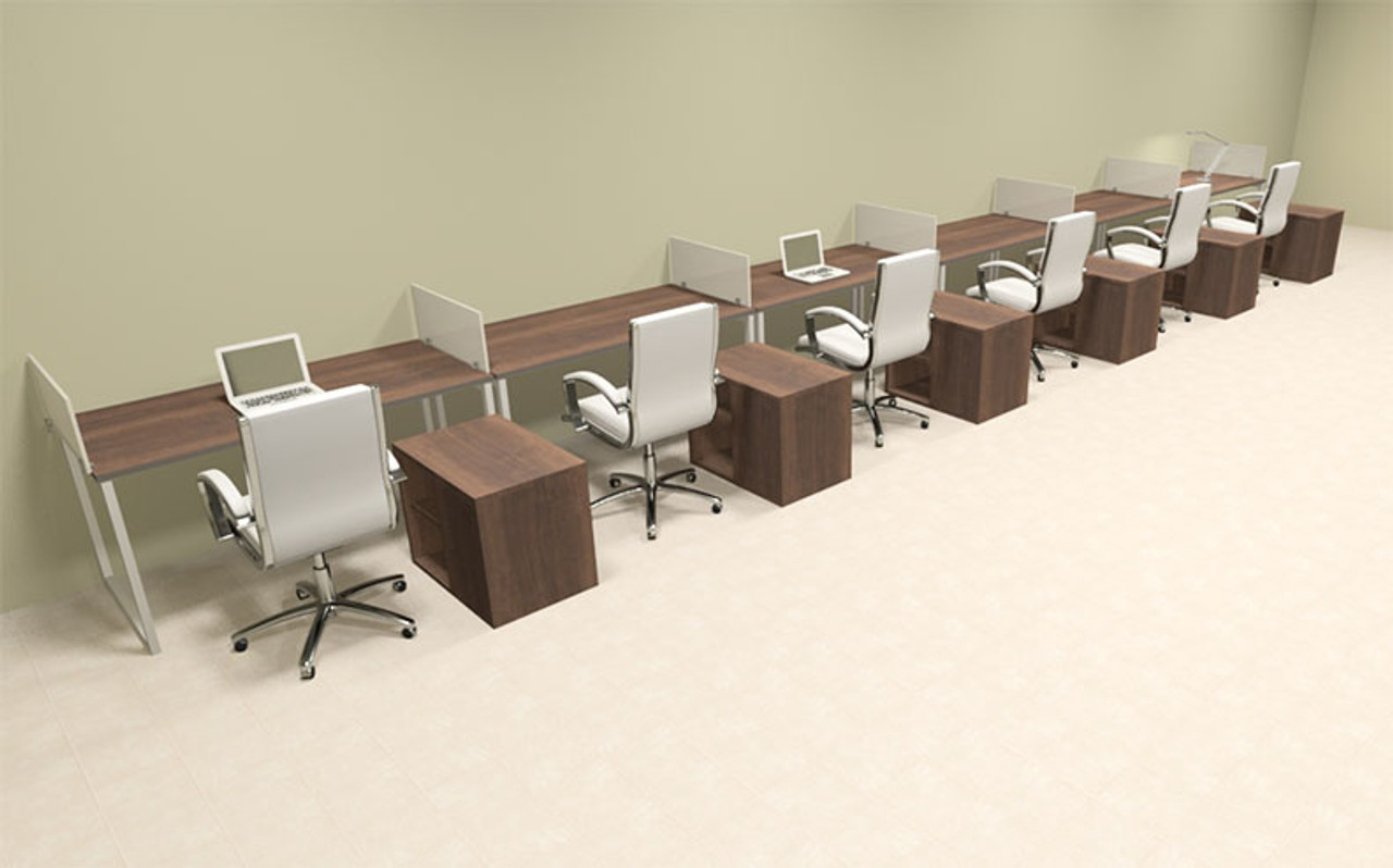 Six Person Modern Acrylic Divider Office Workstation, #AL-OPN-SP105