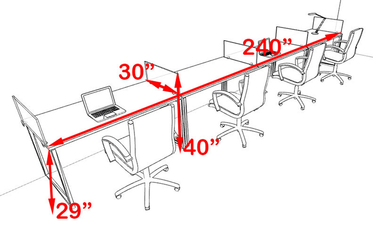 Four Person Modern Acrylic Divider Office Workstation, #AL-OPN-SP33