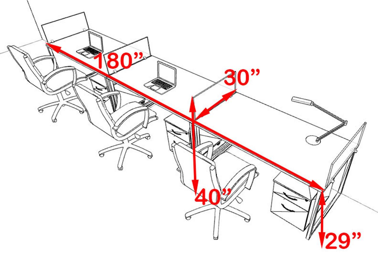 Three Person Modern Acrylic Divider Office Workstation, #AL-OPN-SP56