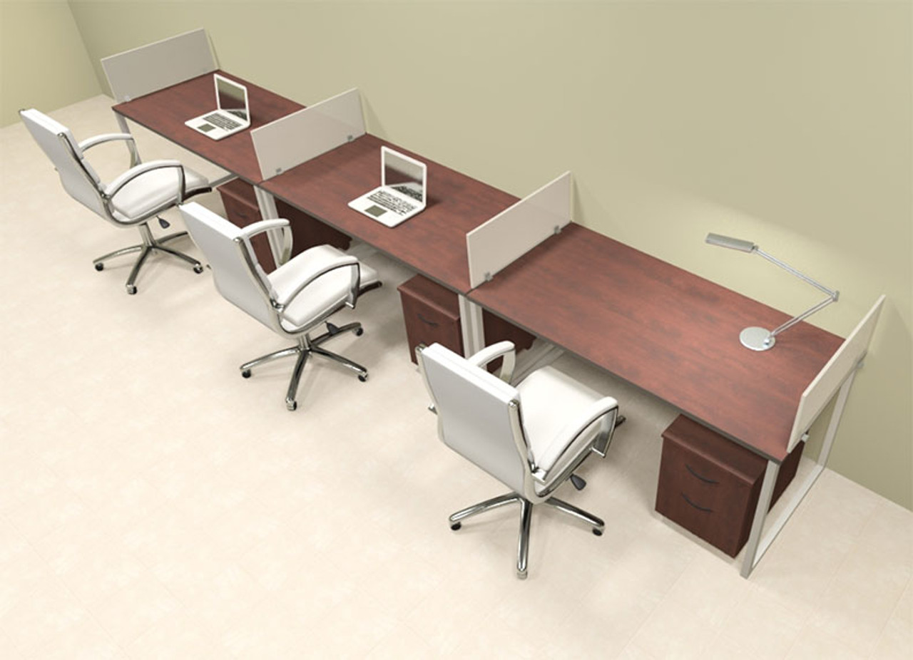 Three Person Modern Acrylic Divider Office Workstation, #AL-OPN-SP58