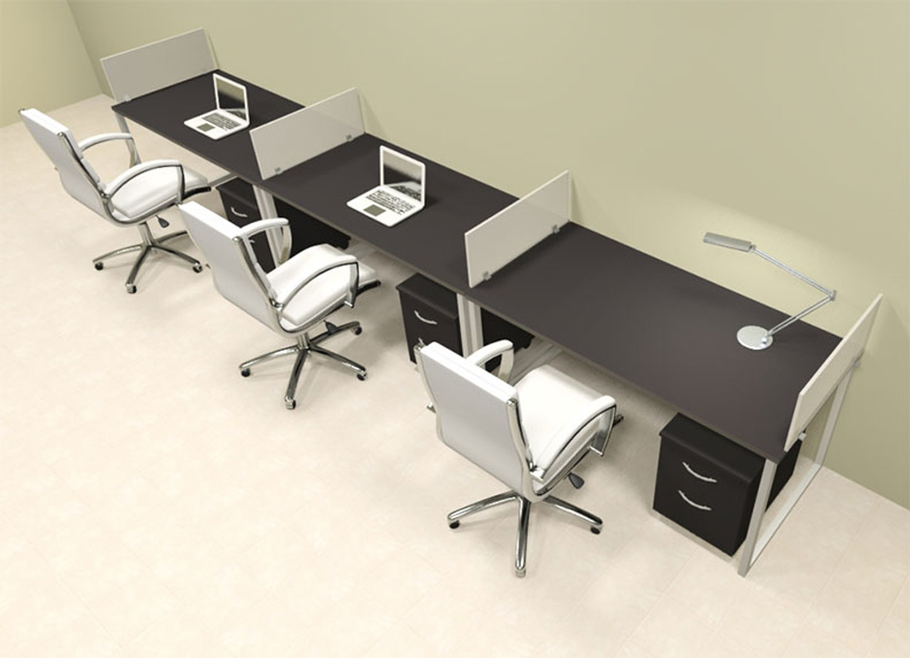 Three Person Modern Acrylic Divider Office Workstation, #AL-OPN-SP60