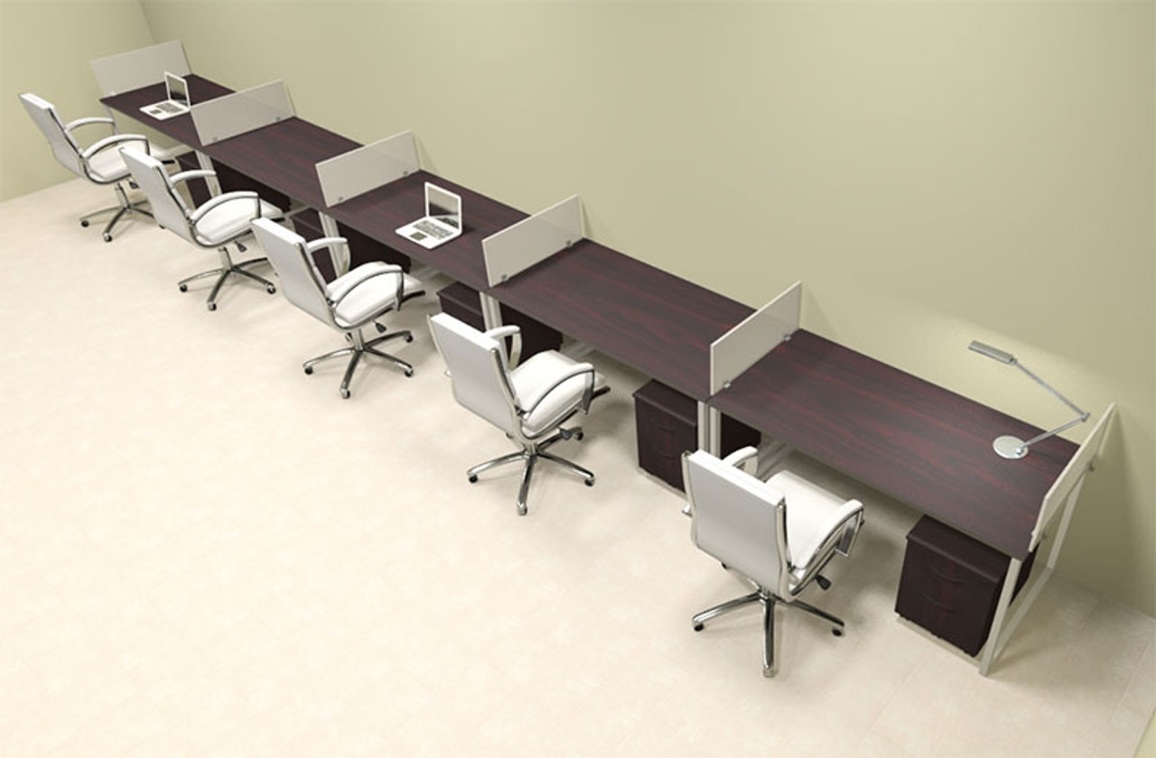 Five Person Modern Acrylic Divider Office Workstation, #AL-OPN-SP71