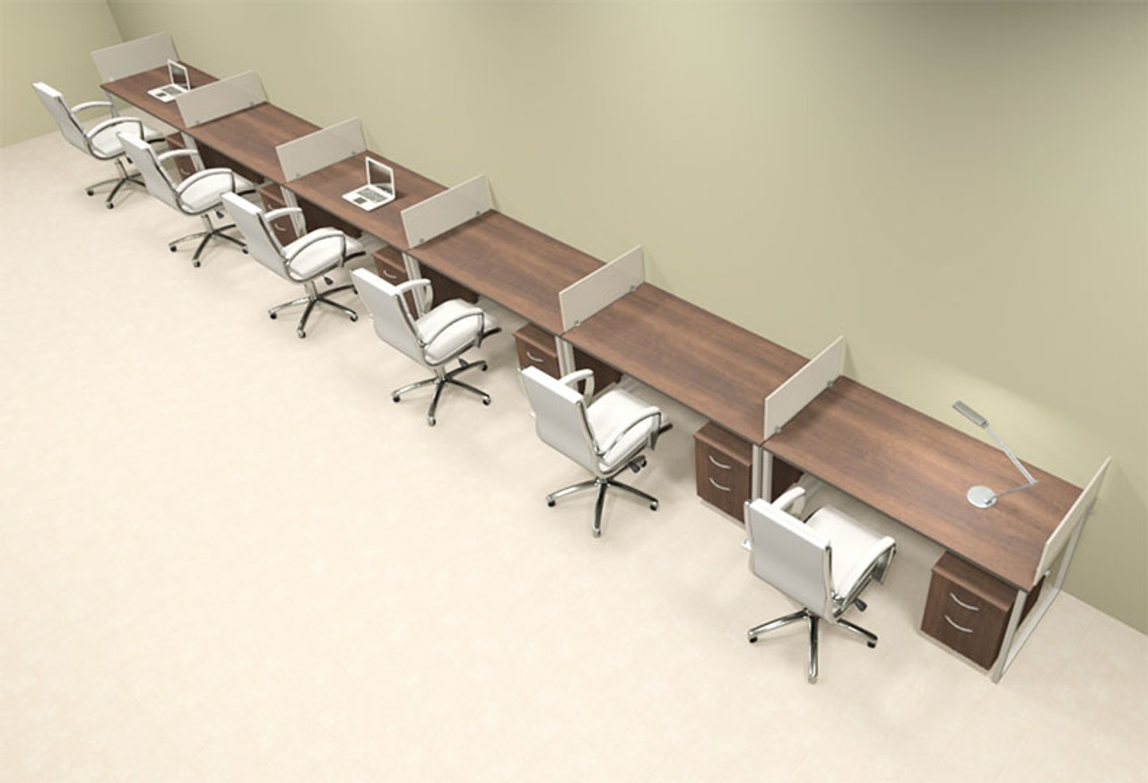 Six Person Modern Acrylic Divider Office Workstation, #AL-OPN-SP75