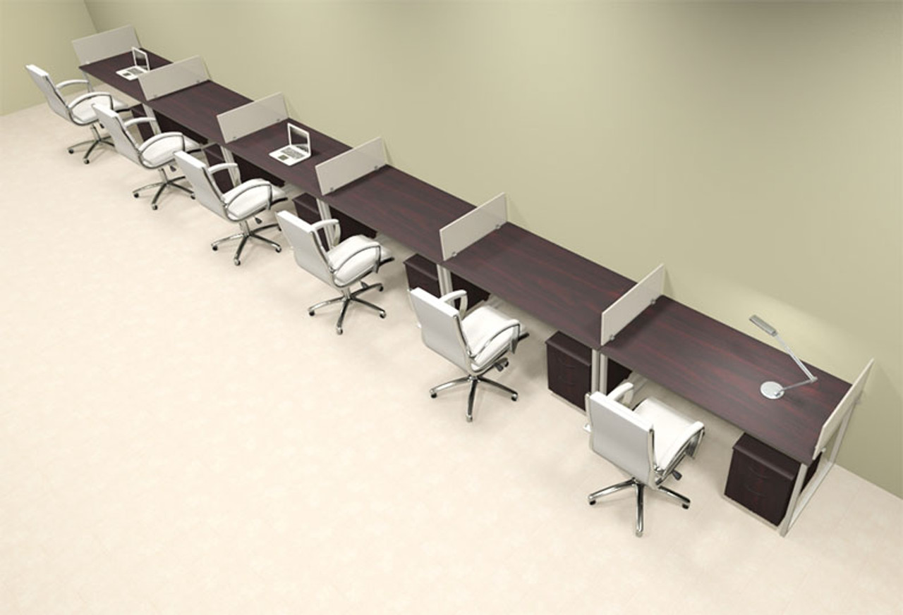 Six Person Modern Acrylic Divider Office Workstation, #AL-OPN-SP77