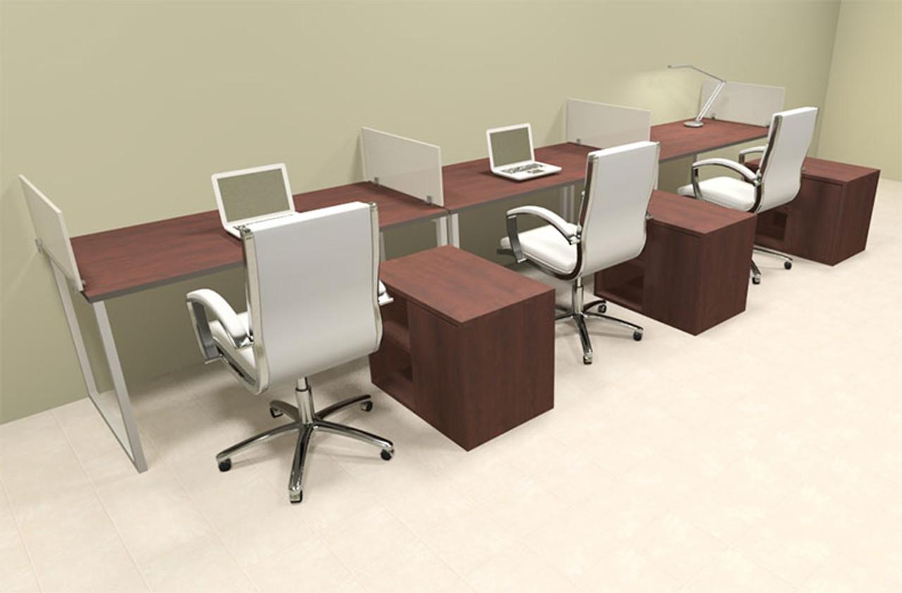 Three Person Modern Acrylic Divider Office Workstation, #AL-OPN-SP88