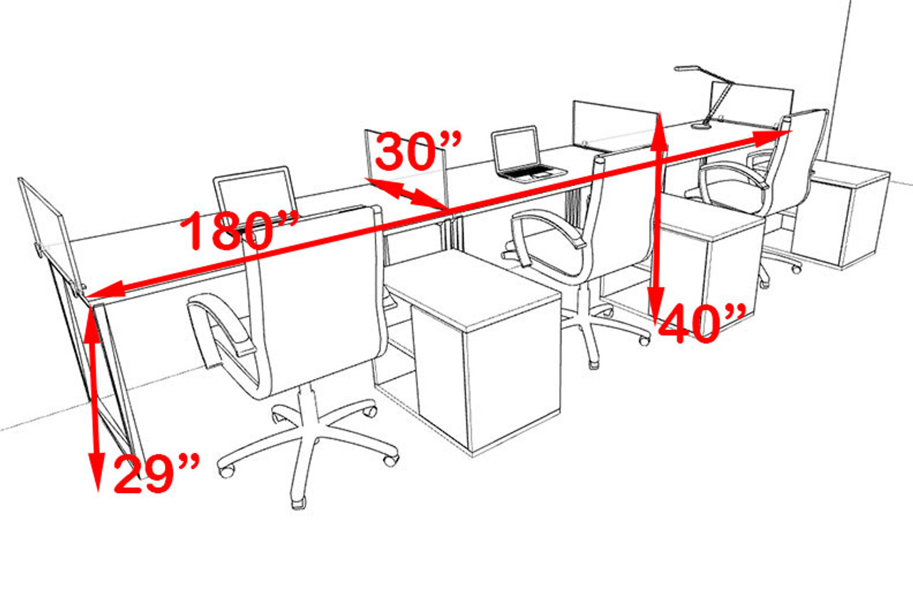 Three Person Modern Acrylic Divider Office Workstation, #AL-OPN-SP89