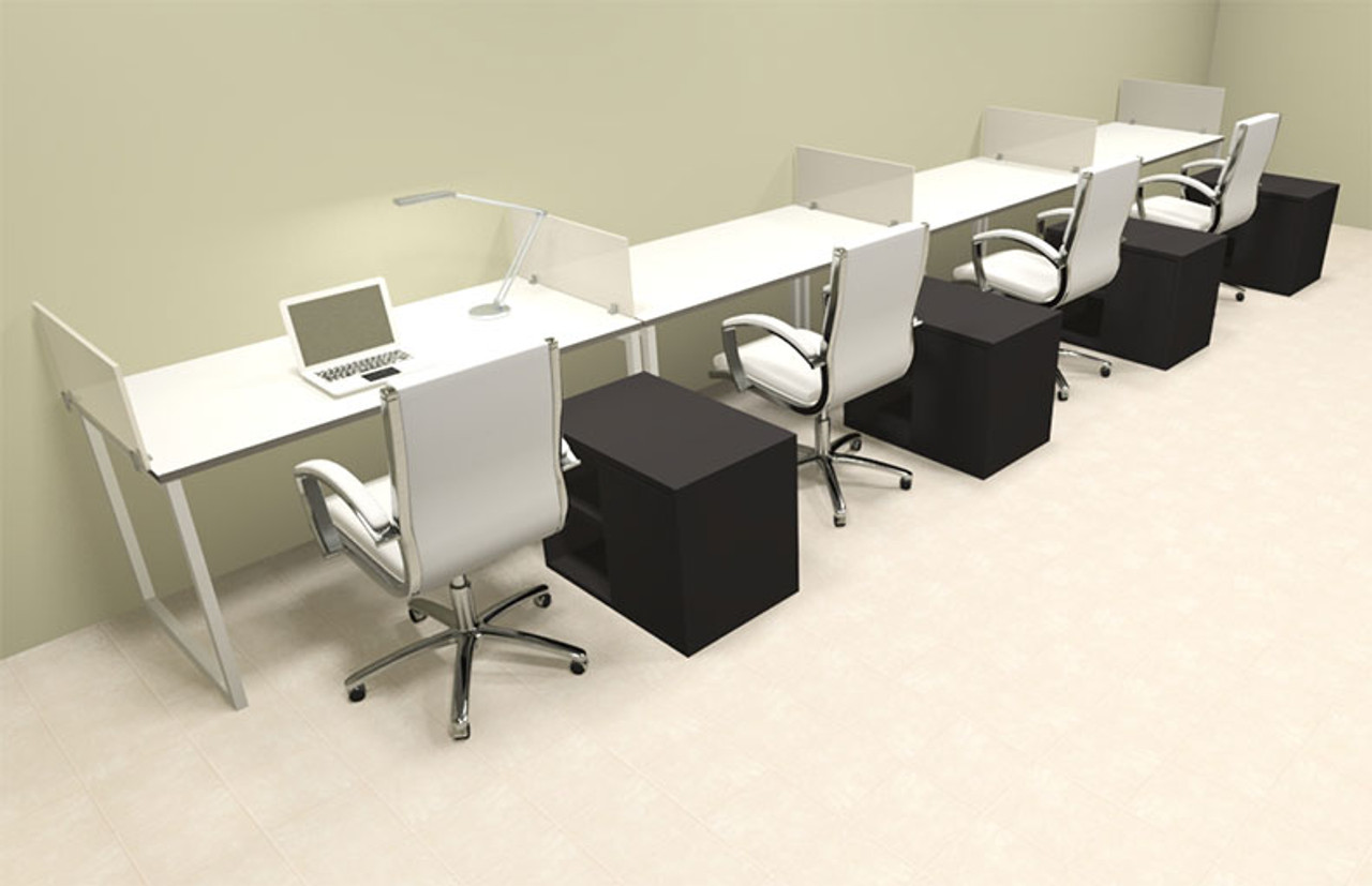 Four Person Modern Acrylic Divider Office Workstation, #AL-OPN-SP91