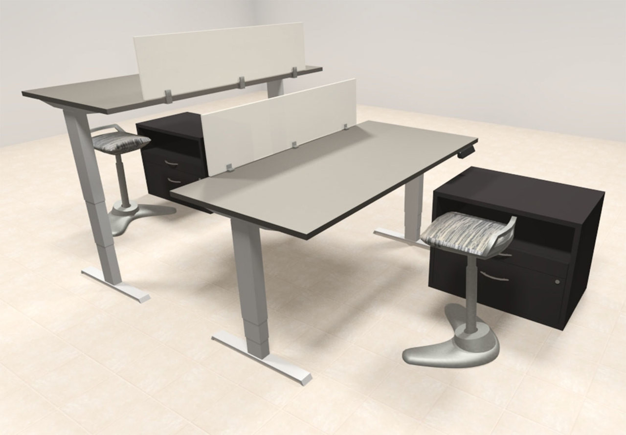 Two Persons Modern Power Adjustable Divider Workstation, #AL-OPN-HP32