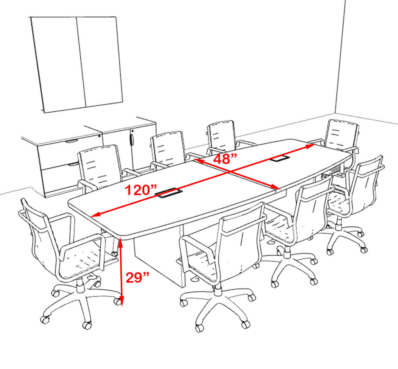 OF-CON-C59 Modern Boat Shaped 10 Feet Conference Table
