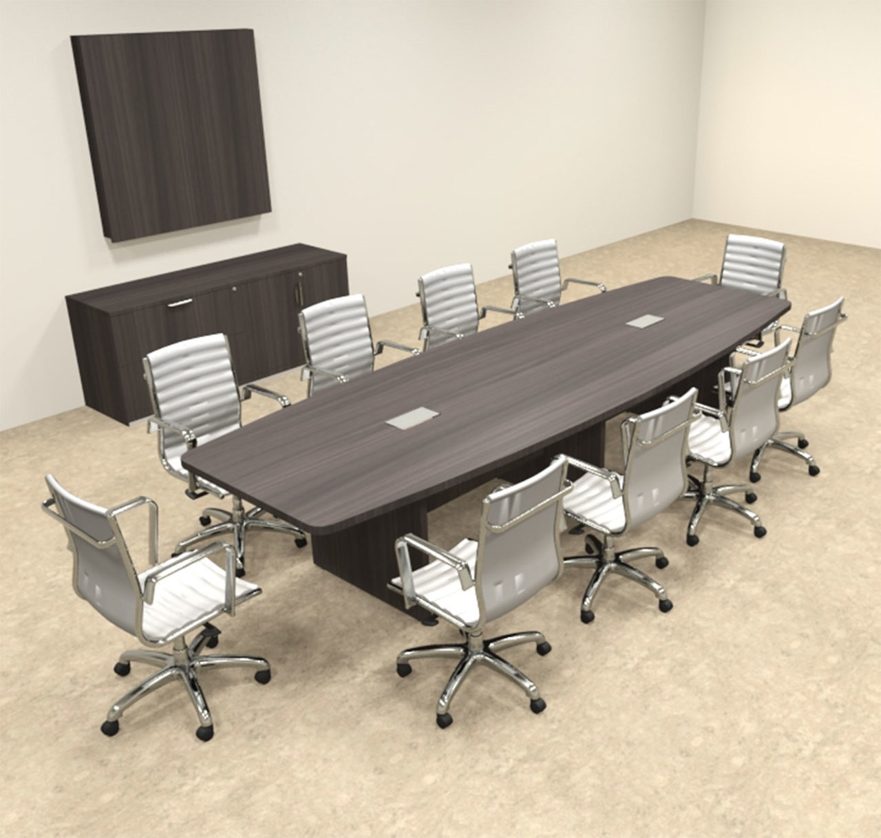 Modern Boat Shapedd 12' Feet Conference Table, #OF-CON-C134
