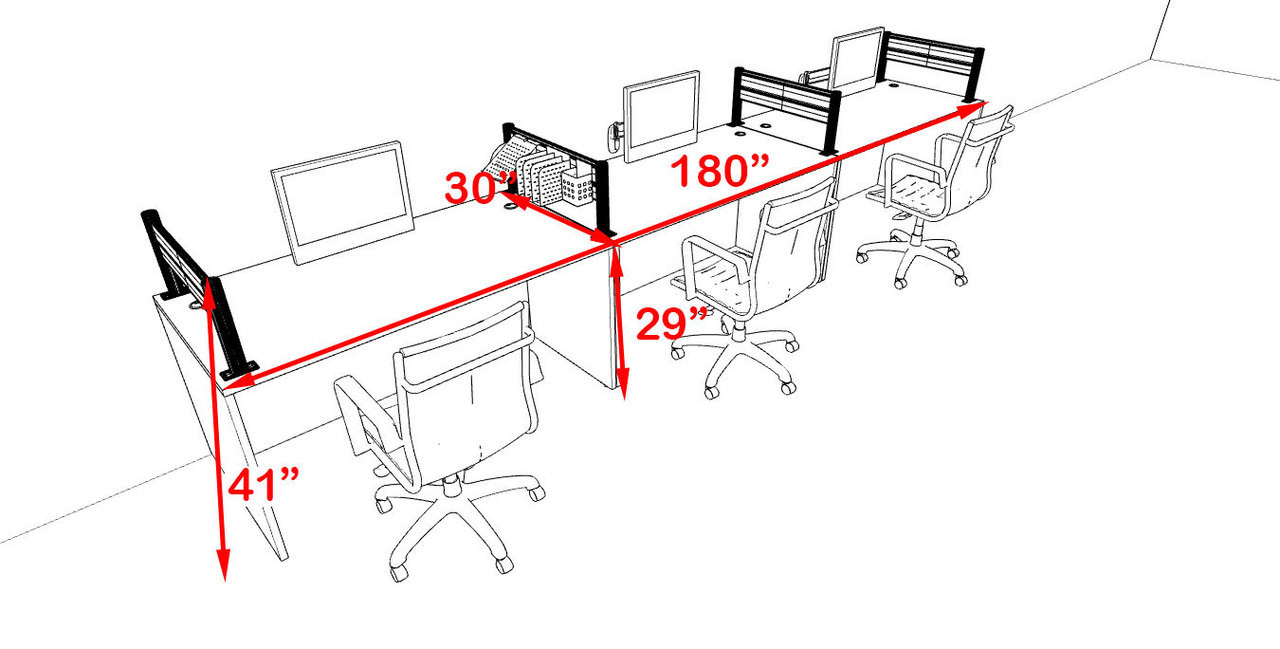 Three Person Modern Aluminum Organizer Divider Office Workstation, #OT-SUL-SPW7