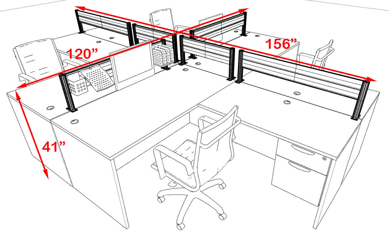 Four Person Modern Aluminum Organizer Divider Office Workstation, #OT-SUL-FPW42