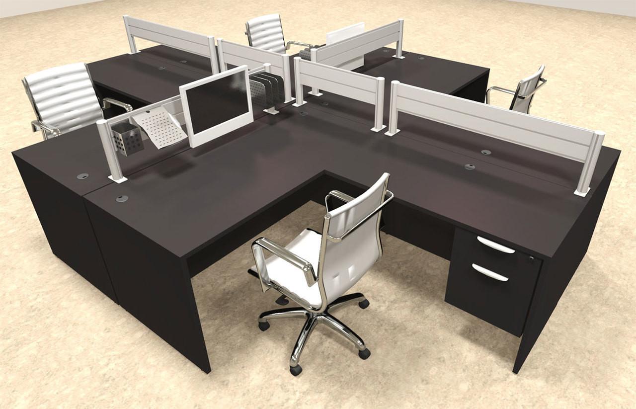 Four Person Modern Aluminum Organizer Divider Office Workstation, #OT-SUL-FPW44