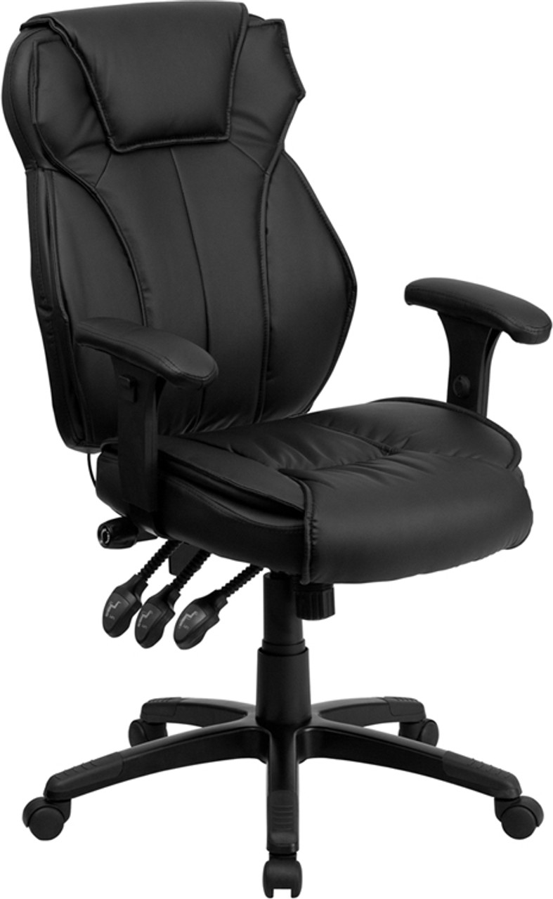 Awesome High Back Black Leather Executive Office Chair With Triple Paddle Control Ff 0156 14 Gmtry Best Dining Table And Chair Ideas Images Gmtryco
