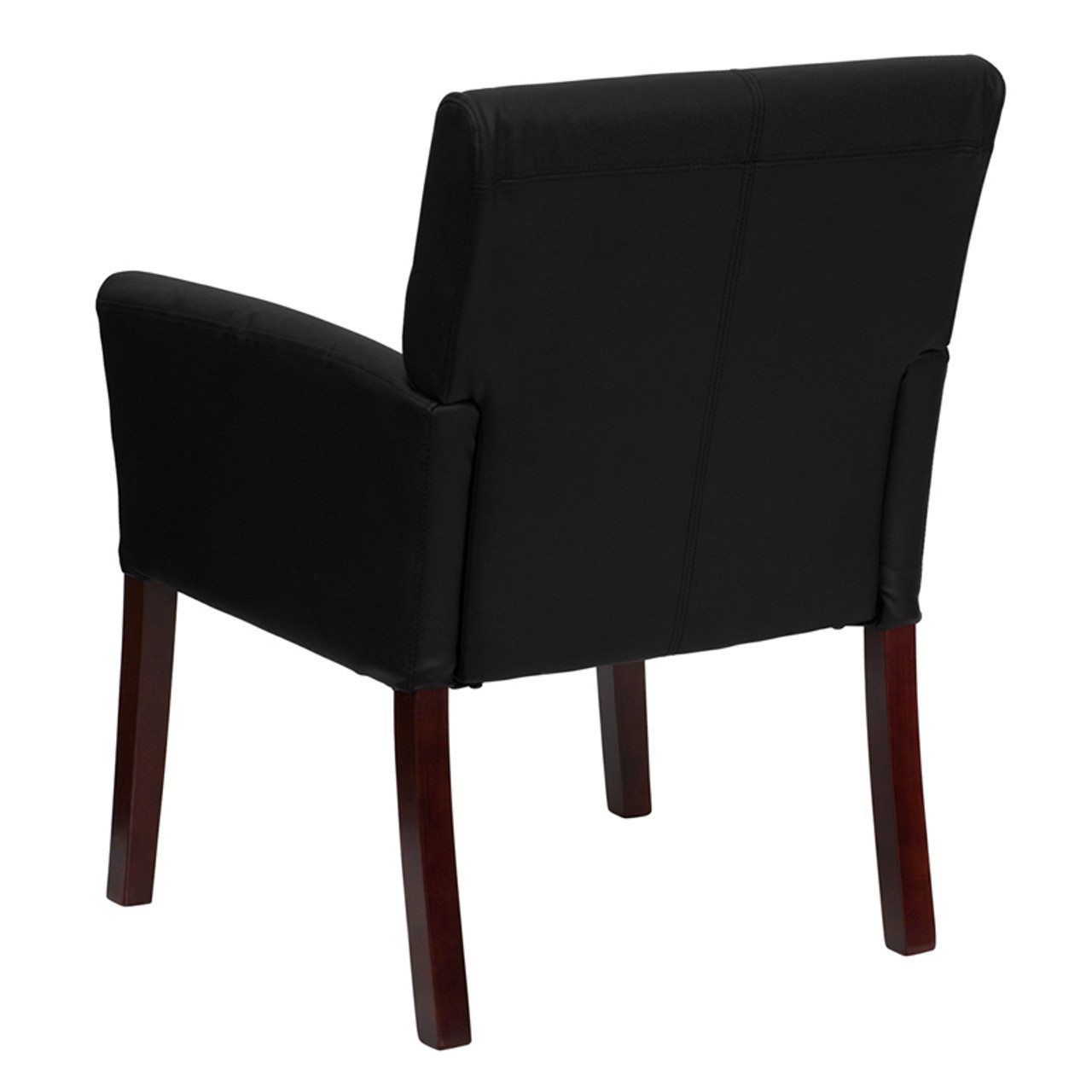 Stupendous Black Leather Executive Side Chair Or Reception Chair With Mahogany Legs Ff 0451 14 Pdpeps Interior Chair Design Pdpepsorg