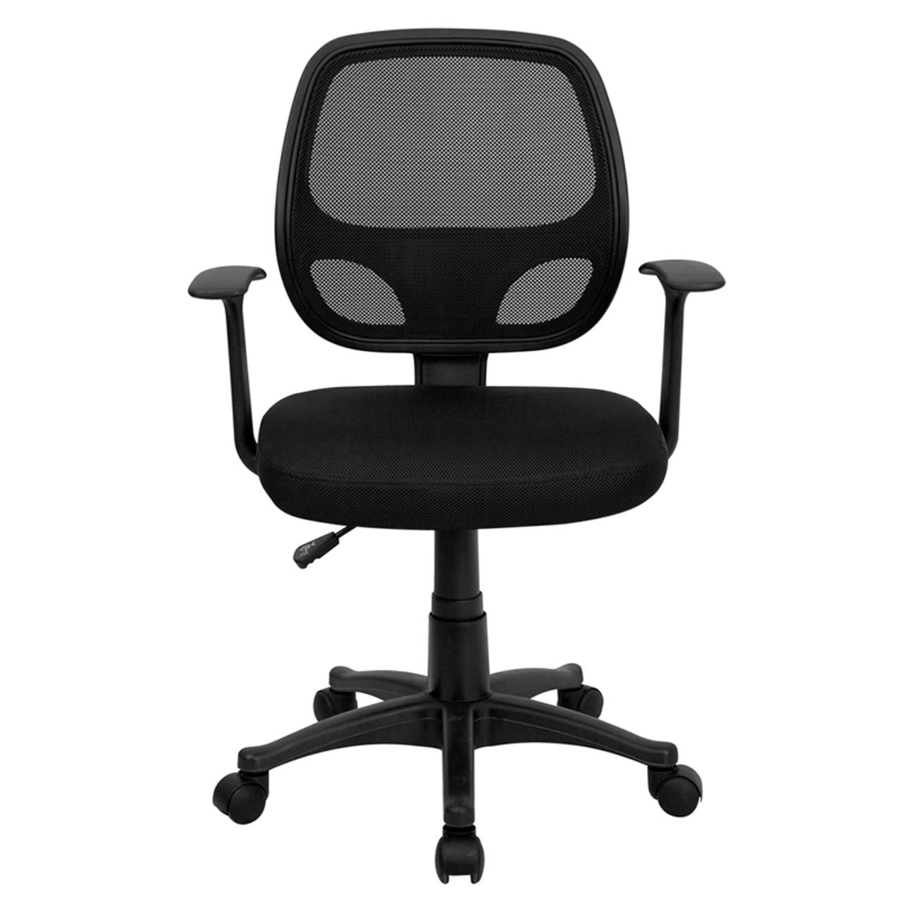Mid-Back Black Mesh Computer Chair , #FF-48-48