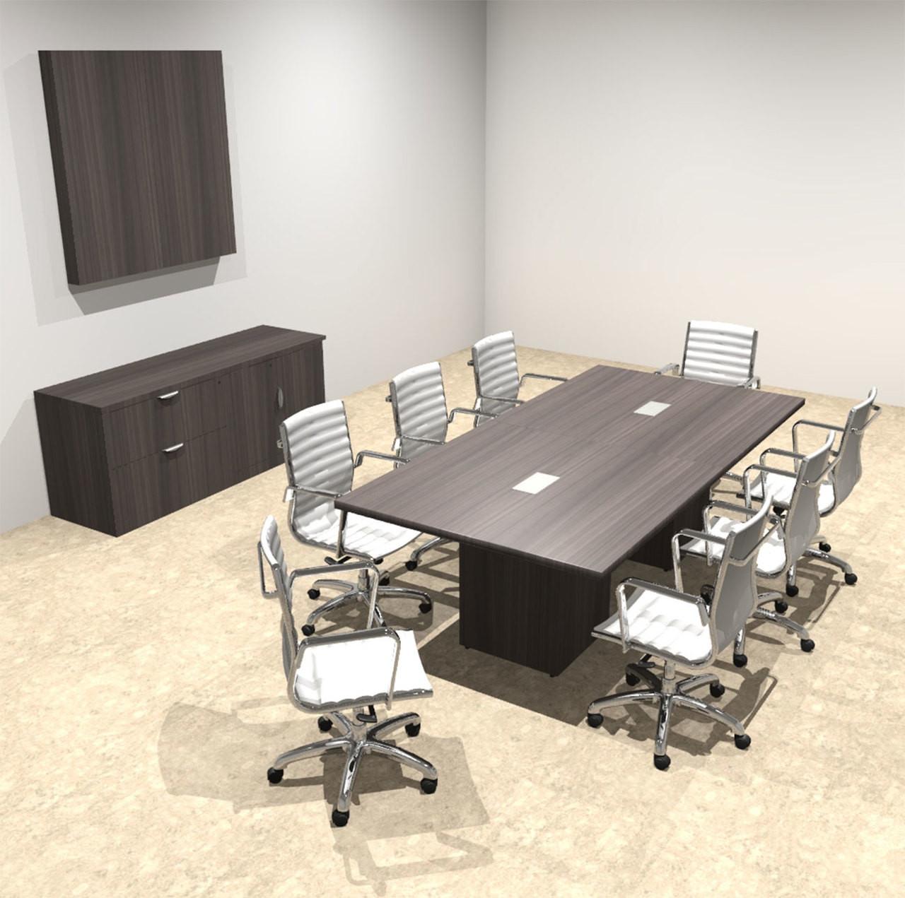Modern Rectangular Top Cube Leg 8' Feet Conference Table, #OF-CON-CS8