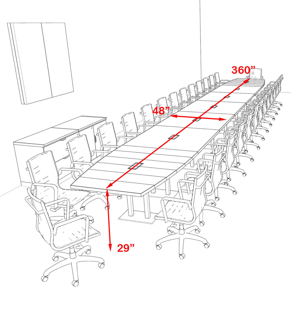 Modern Boat Shaped Steel Leg 30' Feet Conference Table, #OF-CON-CM96