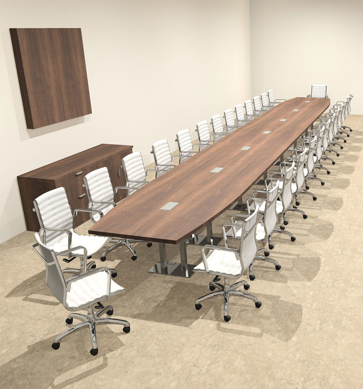 Modern Boat Shaped Steel Leg 30' Feet Conference Table, #OF-CON-CM98