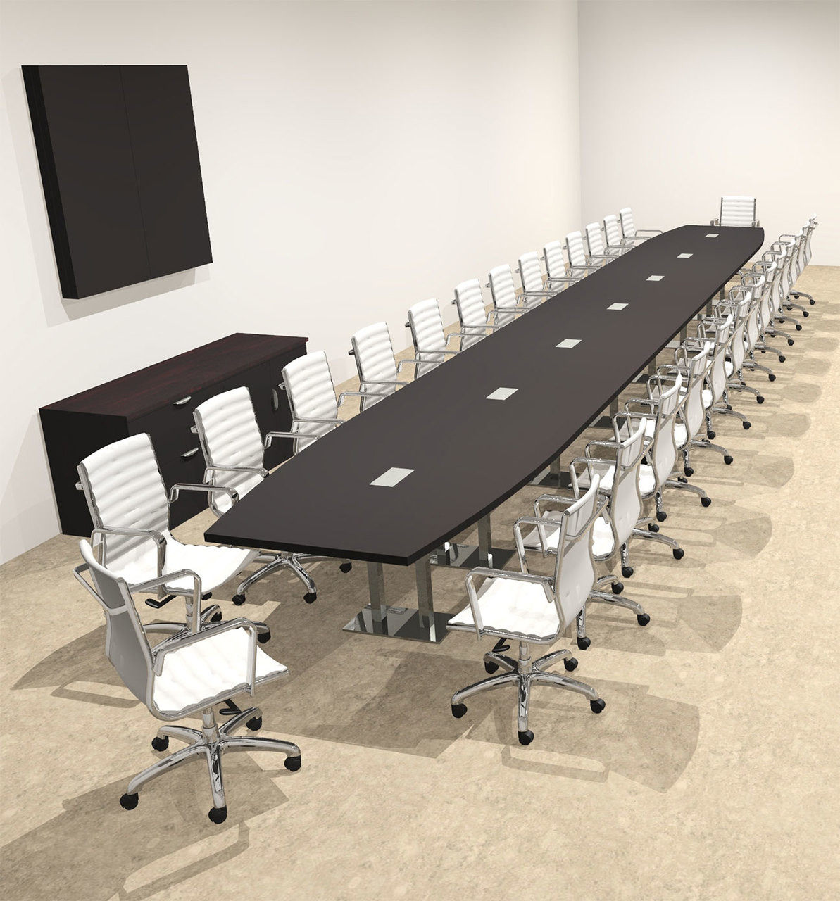 Modern Boat Shaped Steel Leg 30' Feet Conference Table, #OF-CON-CM101