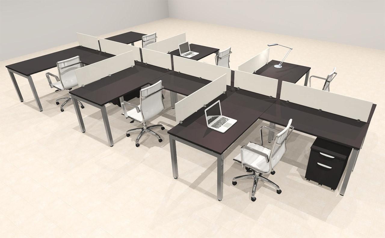 Six Person Modern Divider Office Workstation Desk Set, #OF-CON-SP47