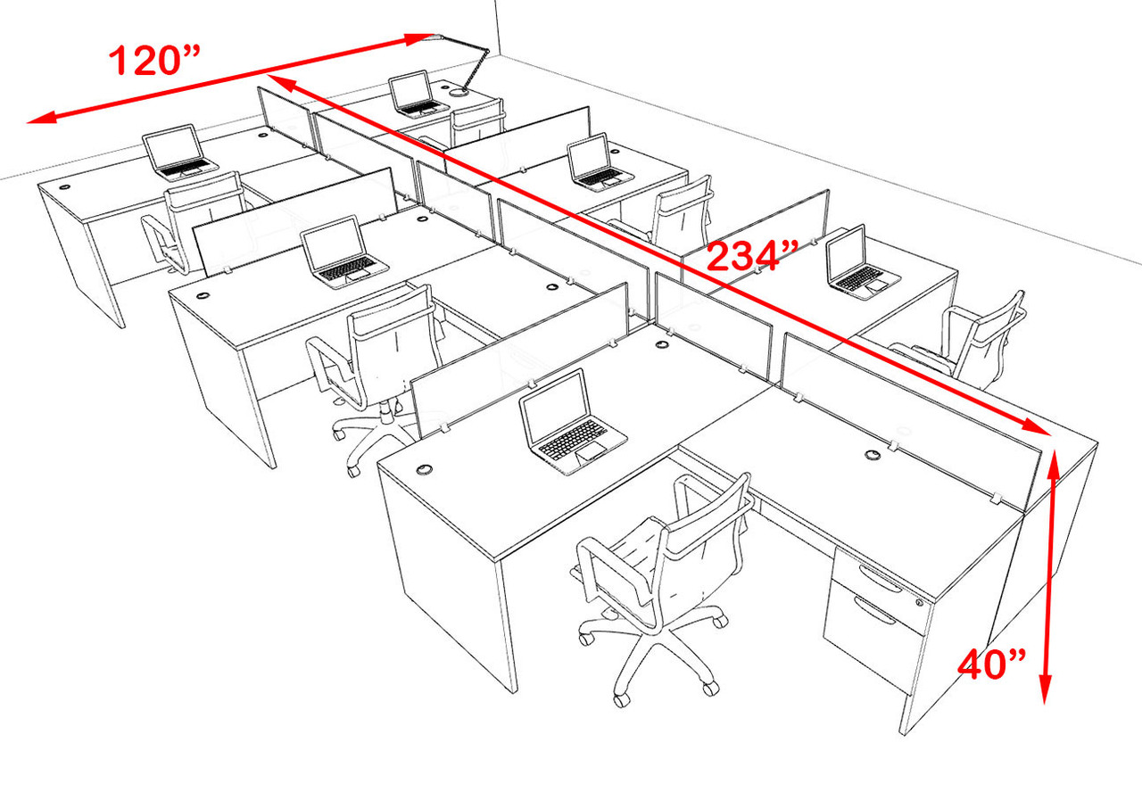 Six Person Modern Accoustic Divider Office Workstation Desk Set, #OF-CPN-SPRA61