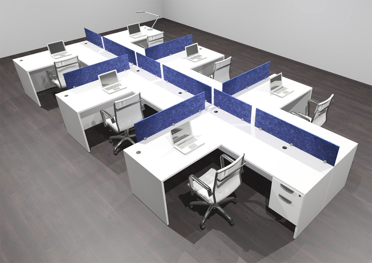 Six Person Modern Accoustic Divider Office Workstation Desk Set, #OF-CPN-SPRB61