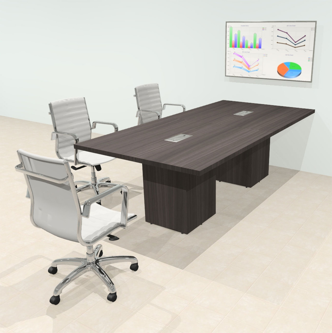 Rectangular 8' Feet Zoom Duo Facetime Video Conference Table, #OF-CON-CSP16