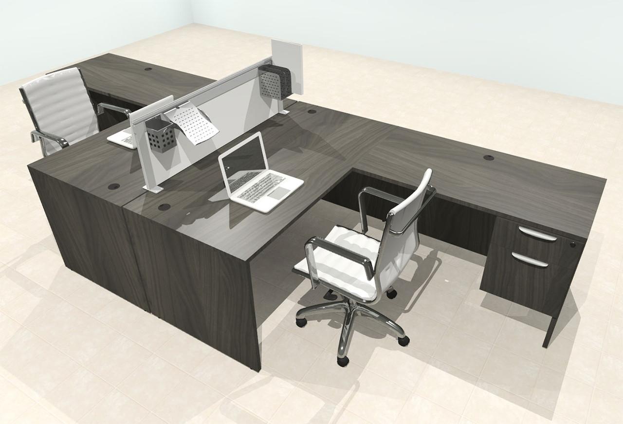 Two Person L Shape Modern Aluminum Organizer Divider Office Workstation Desk Set, #OT-SUL-FPS58