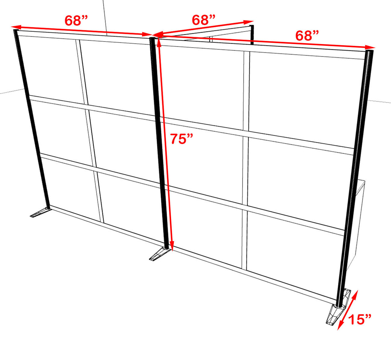 One T Shaped Loft Modern Office Home Aluminum Frame Partition / Divider / Sneeze Guard, #UT-ALU-P67-C