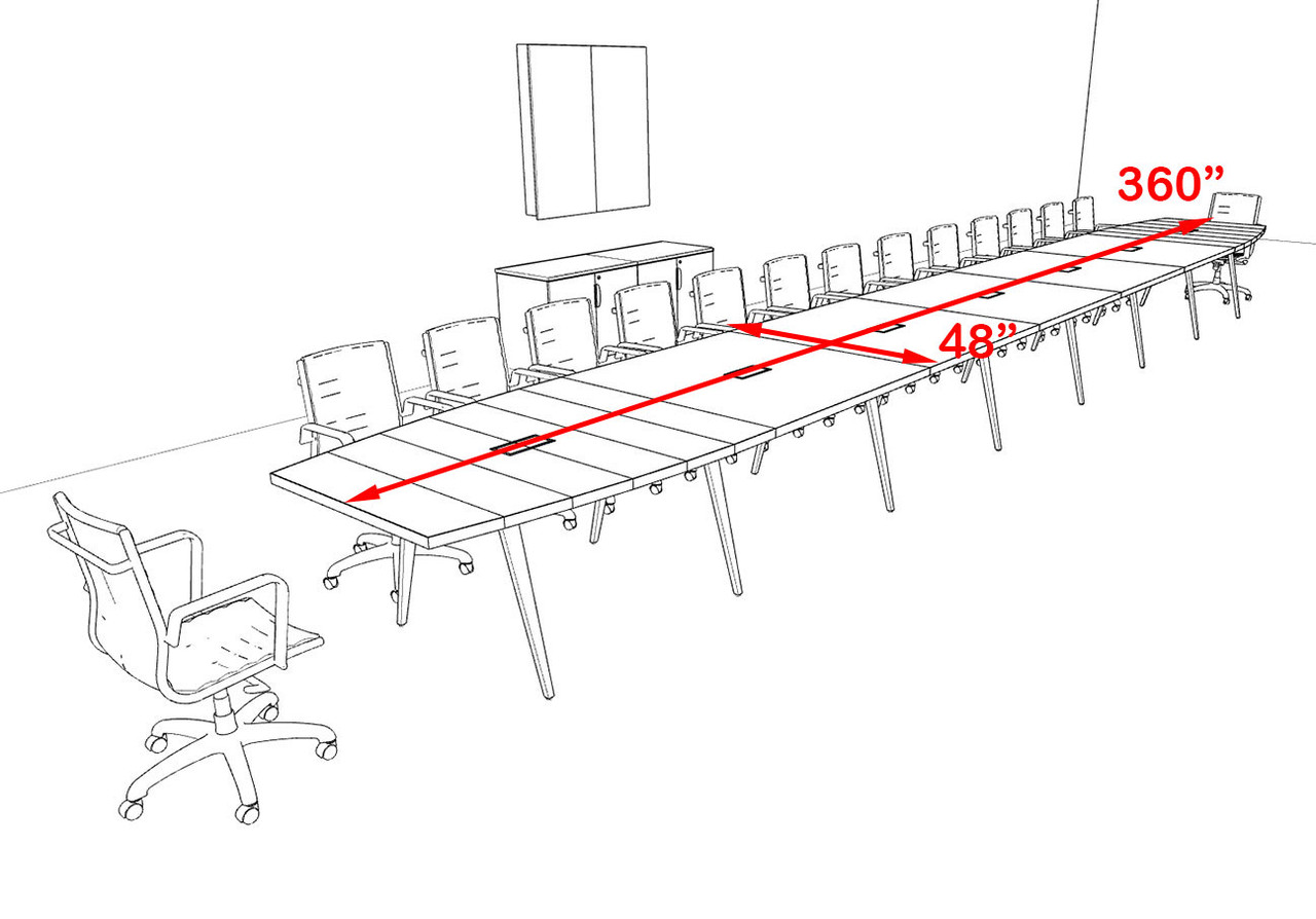 Modern Boat shaped 30' Feet Conference Table, #OF-CON-CW84