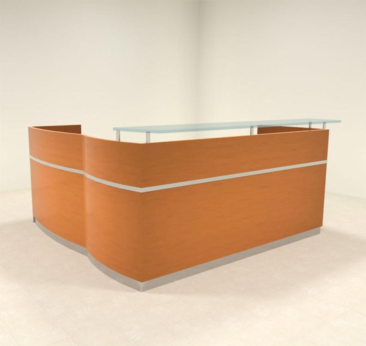 3pc Modern Glass L Shape Counter Reception Desk Set, #RO-NAP-R4