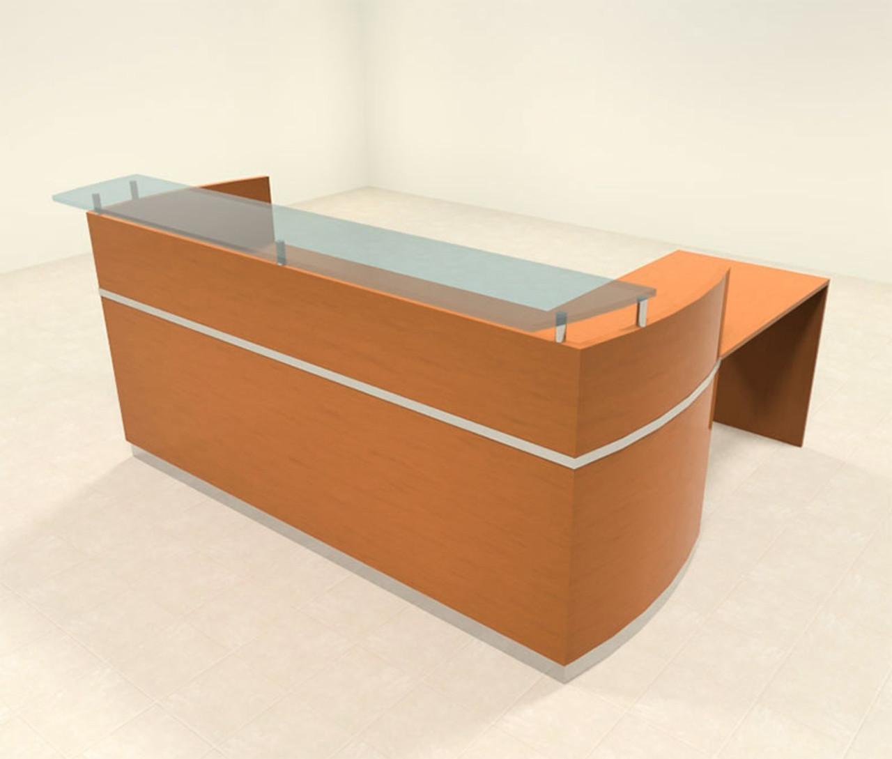 3pc Modern Glass L Shape Counter Reception Desk Set, #RO-NAP-R7