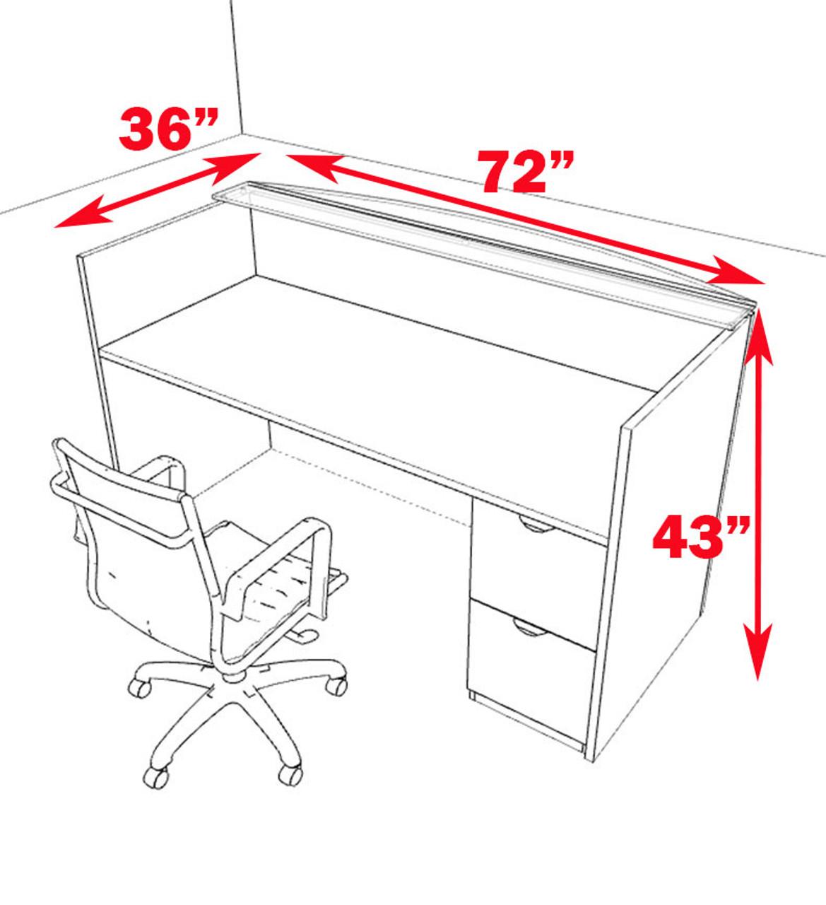2pc Modern Glass Counter Reception Desk Set, #CH-JAD-R1