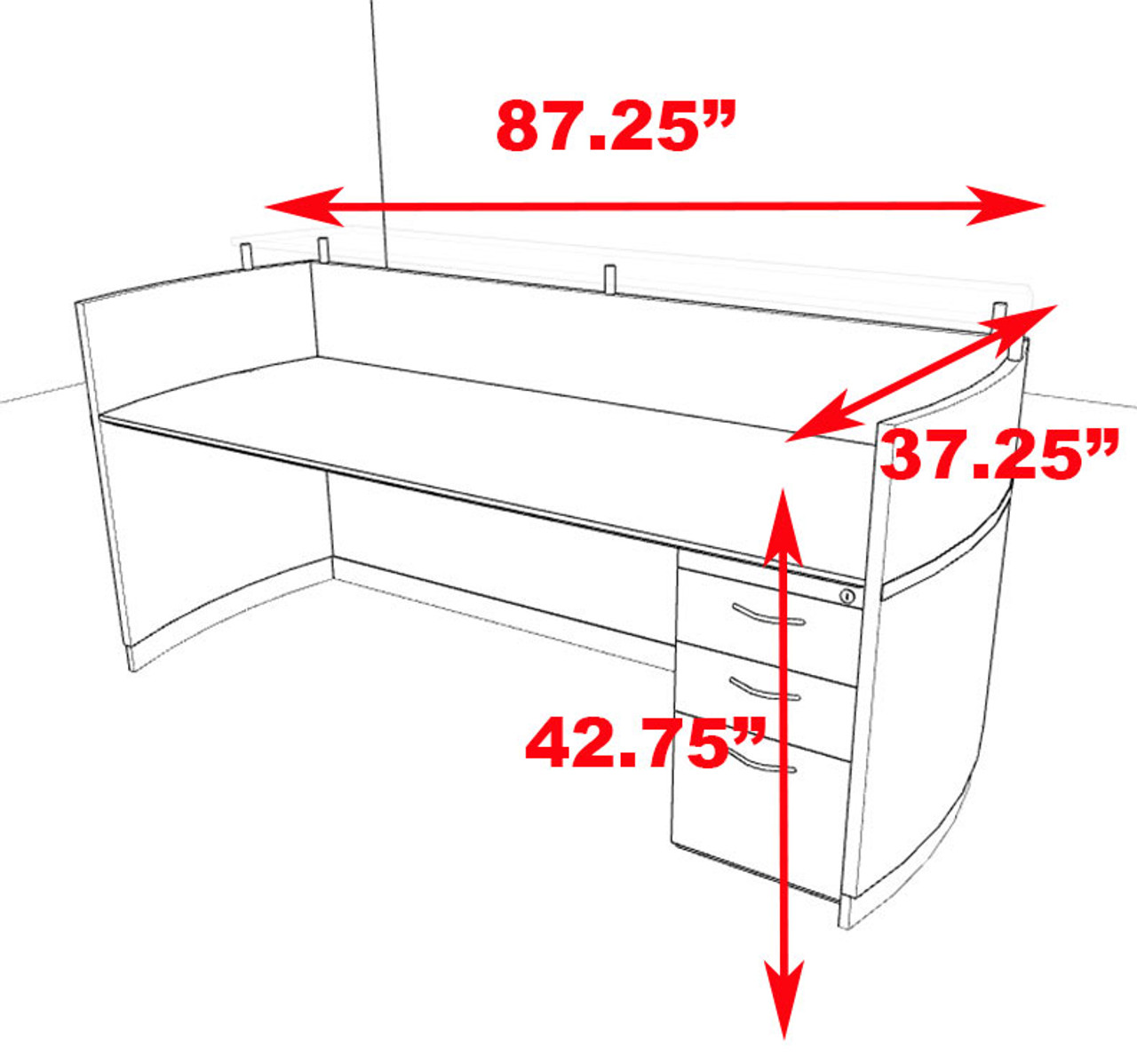 2pc Modern Contemporary Glass Counter Reception Desk Set, #RO-NAP-R3