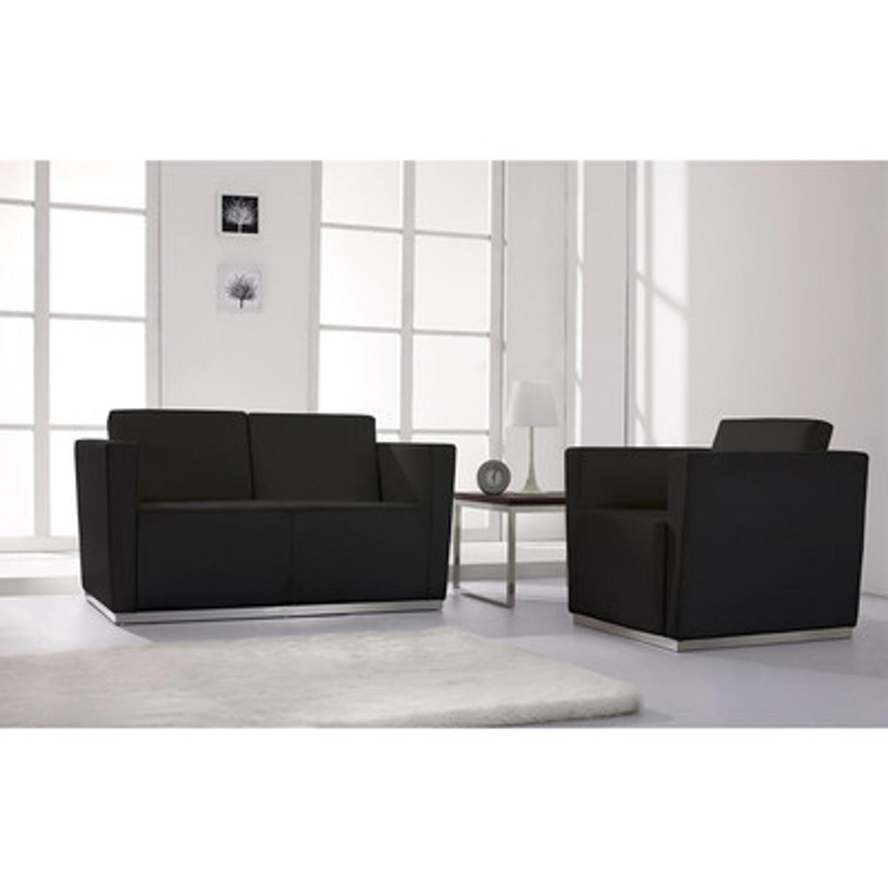 2pc Modern Leather Office Reception Sofa Set, FF-0456-12-S2