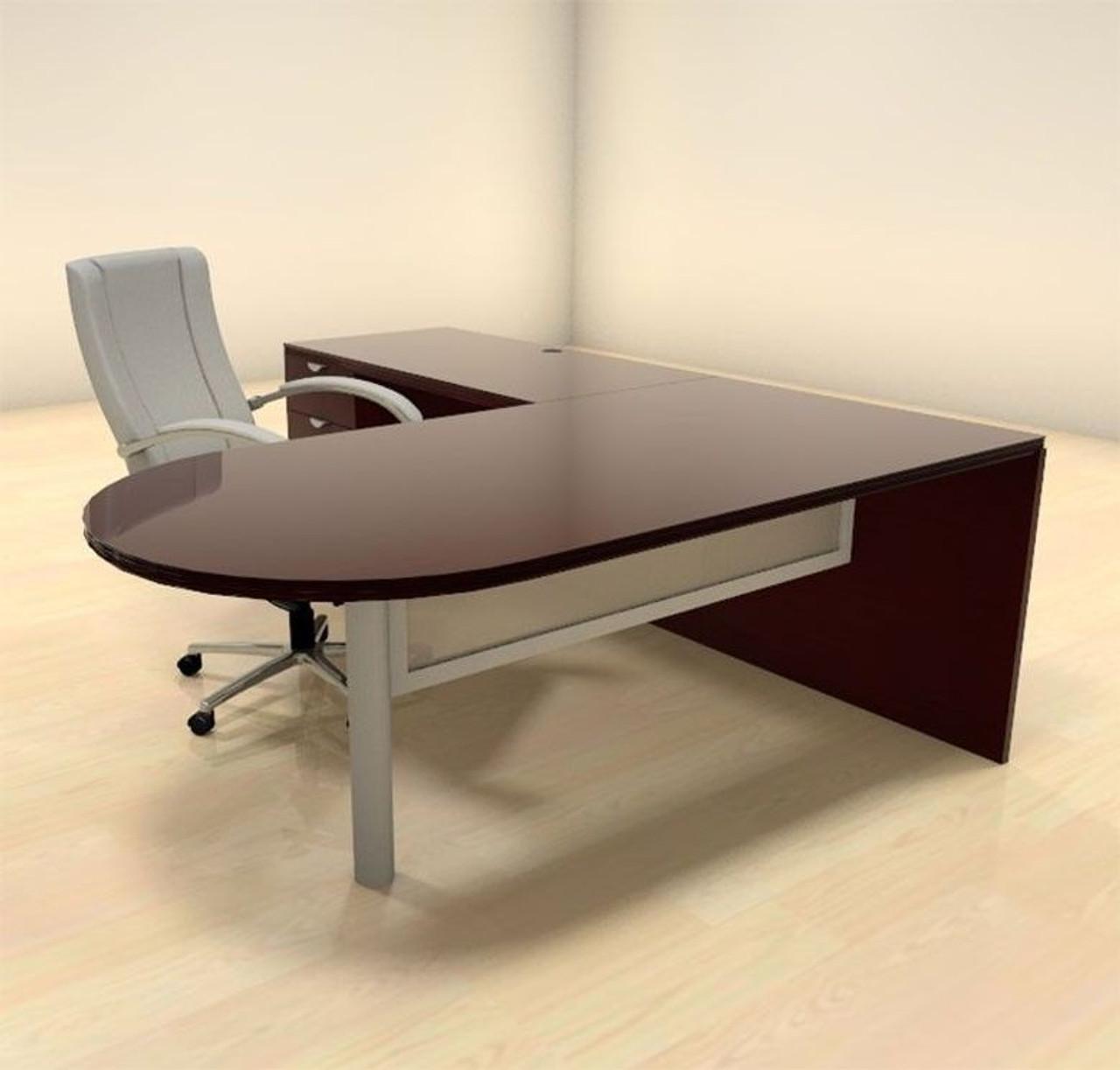 3pc L Shape Modern Contemporary Executive Office Desk Set, #CH-JAD-L6