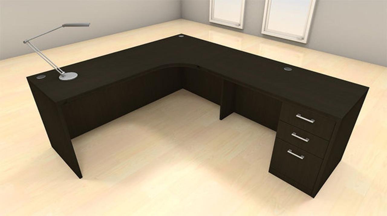 3pc L Shape Modern Executive Office Desk Set, #CH-AMB-L2