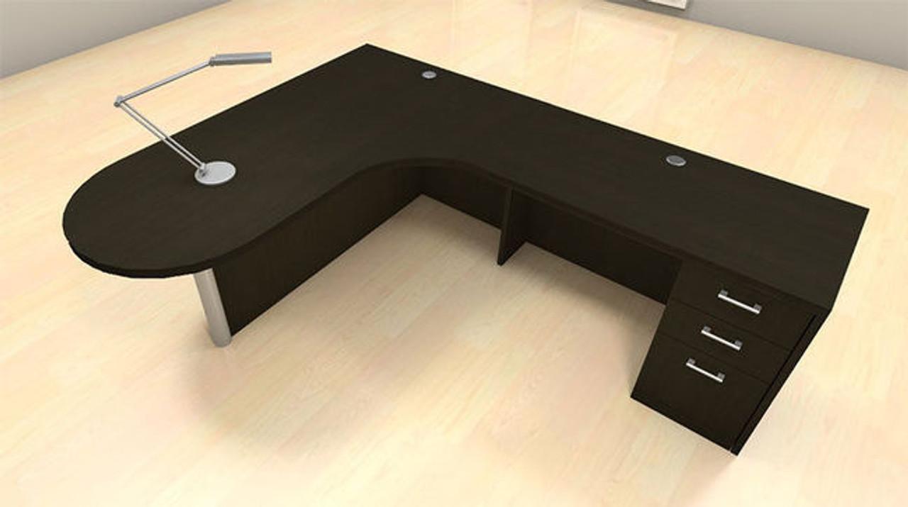 3pc L Shape Modern Executive Office Desk Set, #CH-AMB-L13