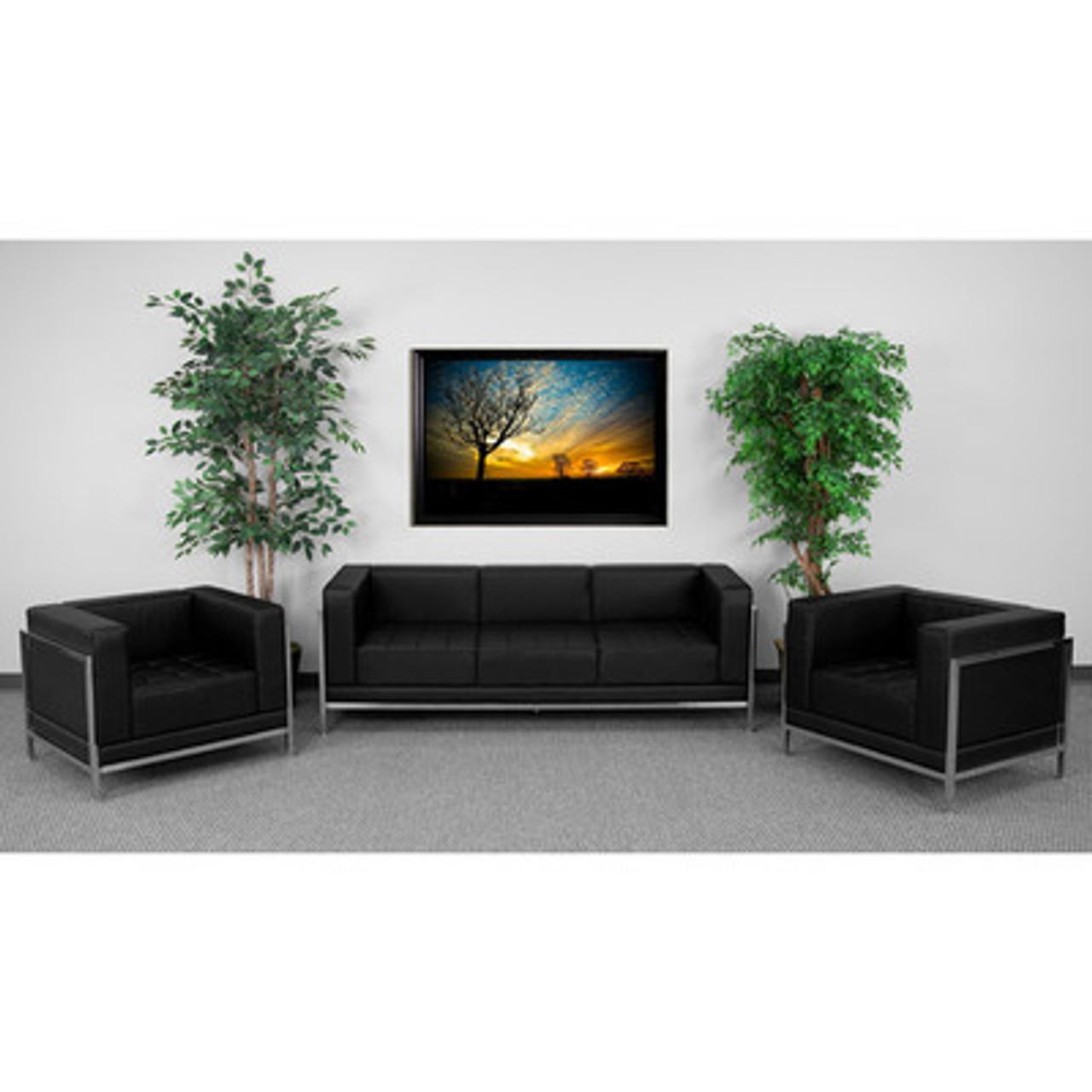 3pc Modern Leather Office Reception Sofa Set, FF-0433-12-S3