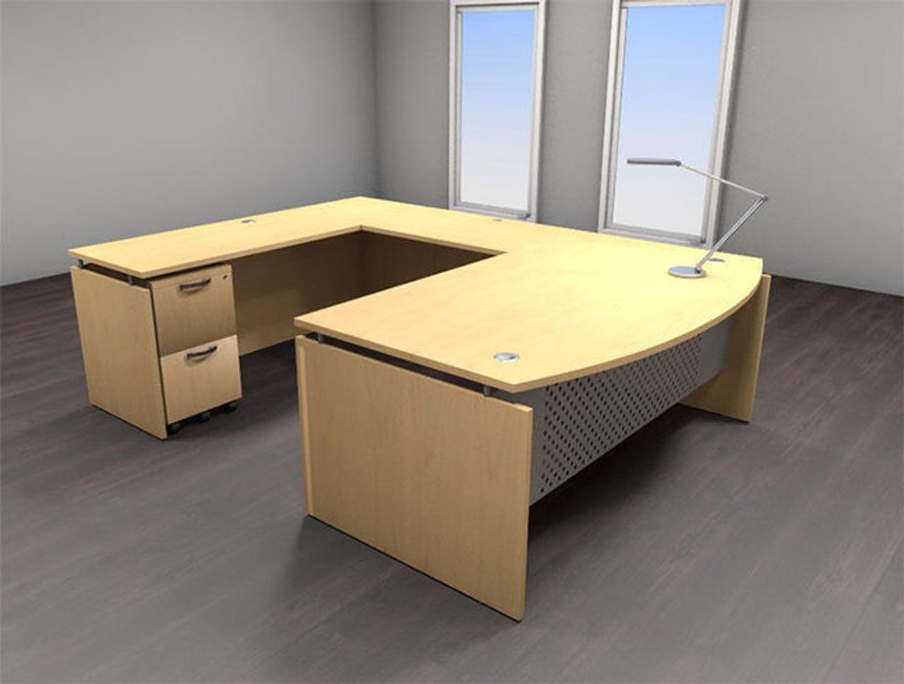 4pc U Shape Modern Contemporary Executive Office Desk Set, #AL-SED-U2