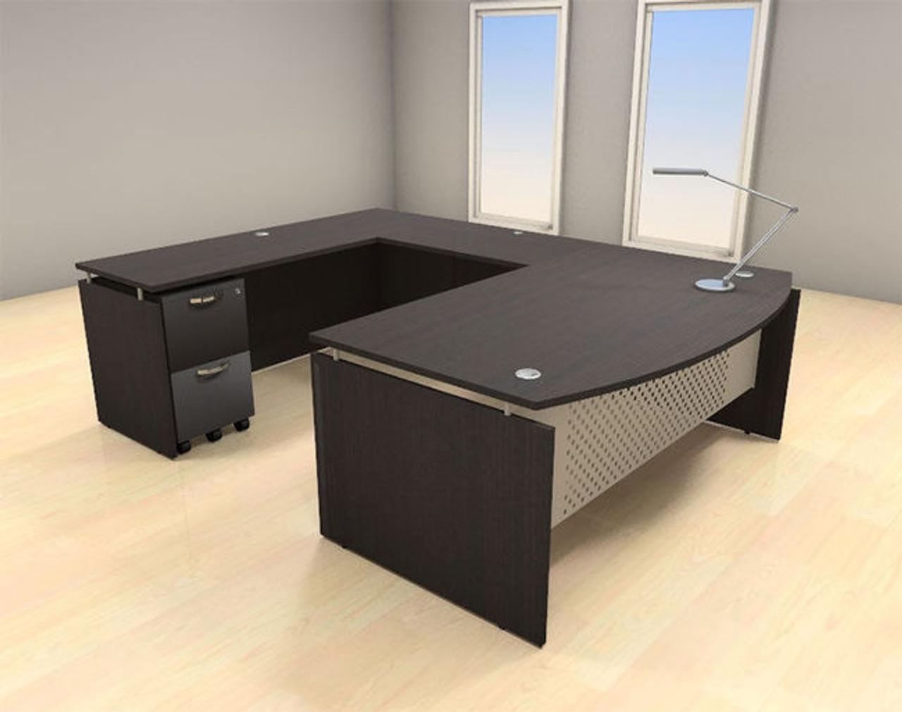 4pc U Shape Modern Contemporary Executive Office Desk Set, #AL-SED-U3