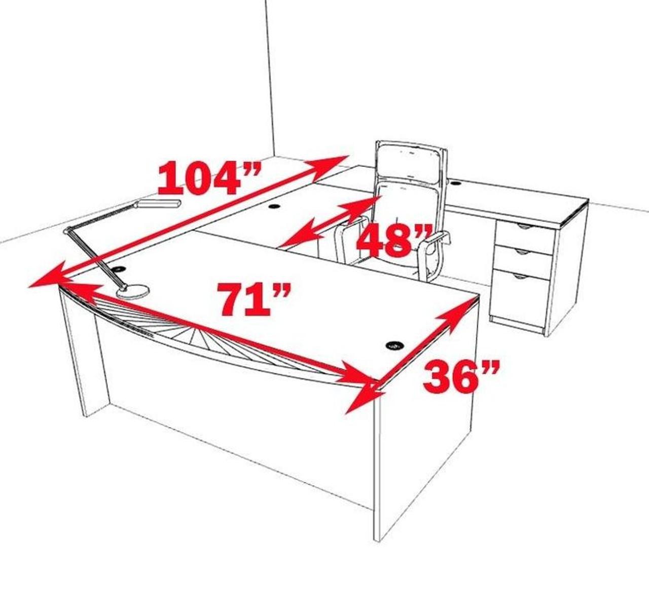 4pc U Shape Modern Contemporary Executive Office Desk Set, #CH-JAD-U2