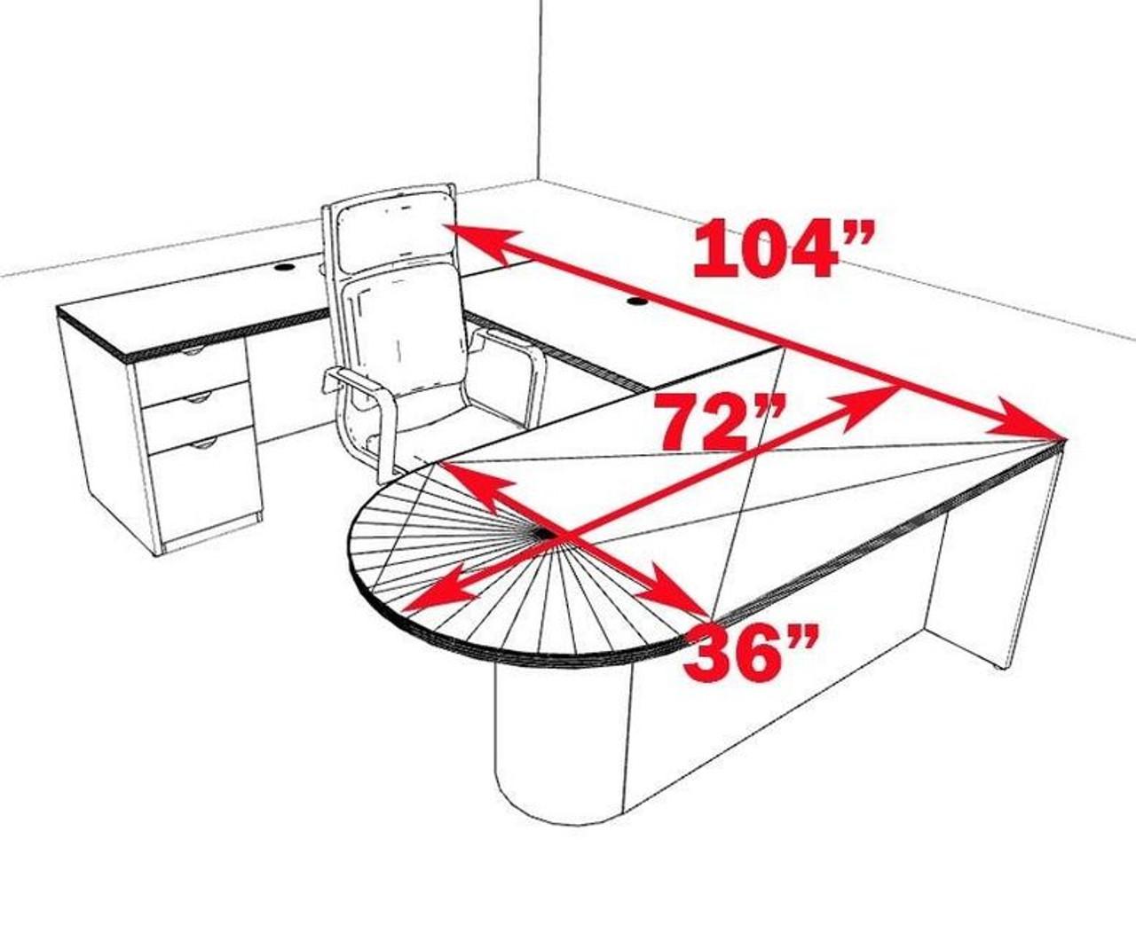 4pc U Shape Modern Contemporary Executive Office Desk Set, #CH-JAD-U12