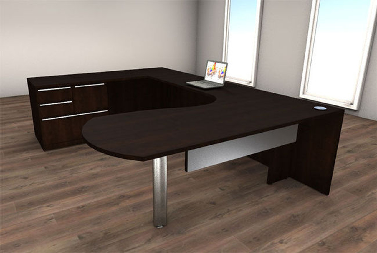 4pc U Shape Modern Executive Office Desk Set, #CH-VER-U10
