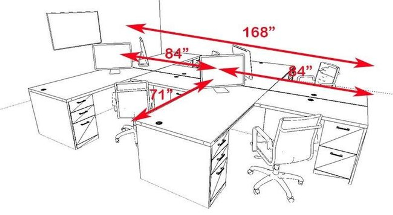 Four Persons Modern Executive Office Workstation Desk Set, #CH-AMB-S6