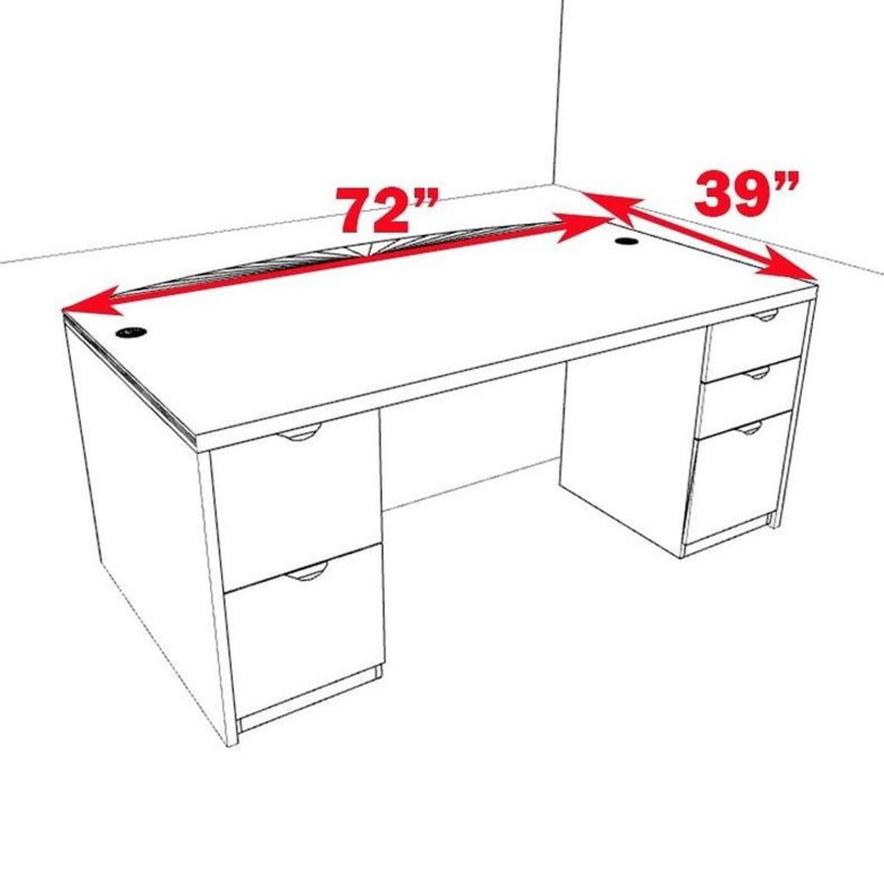3pc Fan Front Modern Contemporary Executive Office Desk, #CH-JAD-D8